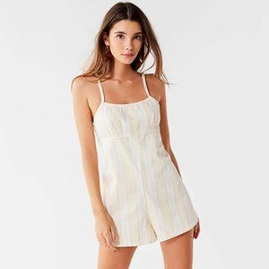 URBAN OUTFITTERS Yellow Striped Denim Romper #B17